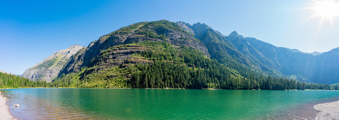 Morning view of the beautiful Avalanche Lake