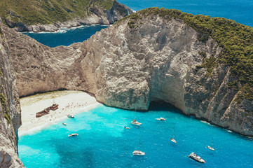 View of the shipwreck on the beach Navagio in Zakynthos, Greece Fototapete