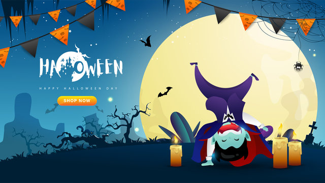 Little Cute Dracula on Dark night background. Banner of Happy Halloween Day. Creative and Modern design in EPS10 Vector Illustration.