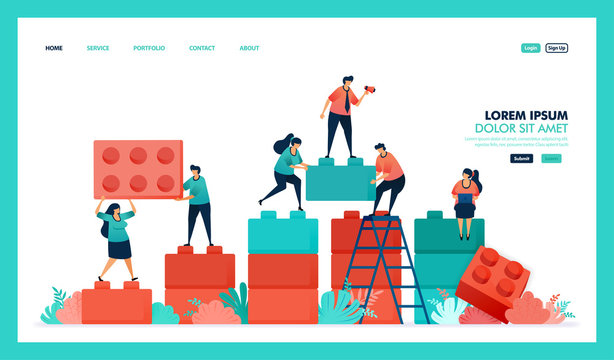 Vector design of game, lego, business chart. people collaborate to solving problem, complete puzzle lego game to build and developing business intelligence or BI. strategy in achieving growth success