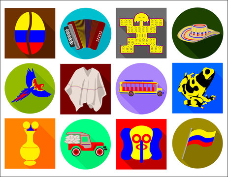 Colombian flat long shadow icons, Colombian culture, vector set