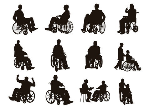 People on Wheelchair Silhouettes