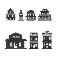 Buliding West vector icon illustration