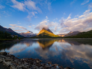 Sunrise of the Mount Wilbur, Swiftcurrent Lake in the Many Glacier area of the famous Glacier National Park