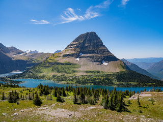 Aerial view of the Hidden Lake of Logan Pass