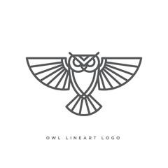 line art of owl logo concept, vector illustration