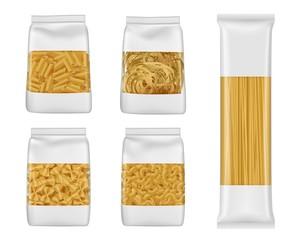 Italian pasta packs of penne, farfalle, spaghetti