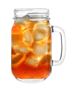 Mason jar of refreshing iced tea on white background