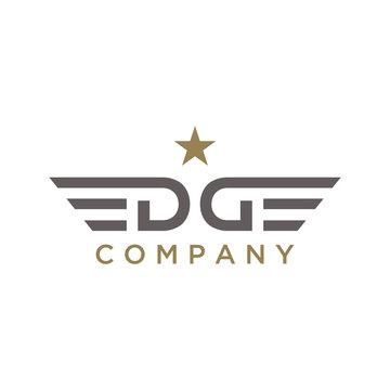 Monogram Initials D G DG or Lettering EDGE logo design