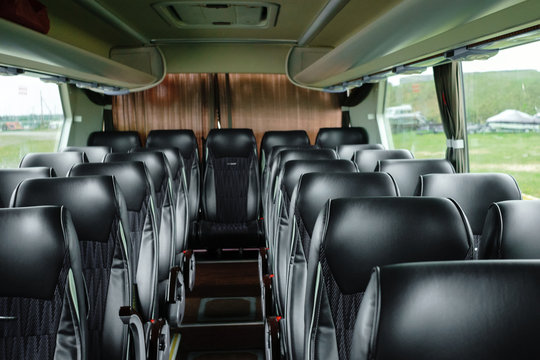 empty interior of the bus leather seats