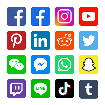 Square social media or social network flat vector icon for apps and websites