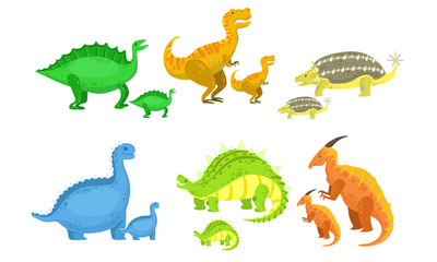 Cute Mother and Baby Dinosaurs Set, Loving Parents and Adorable Kids Prehistoric Animals Vector Illustration Wall mural