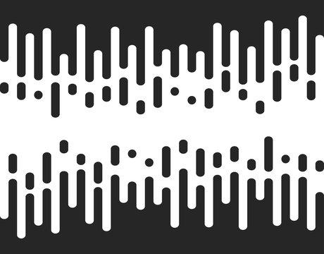 Halftone transition seamless pattern, irregular rounded lines. Vector illustration.