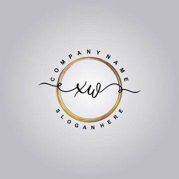 Initial letter XW beauty vector handwriting concept logo