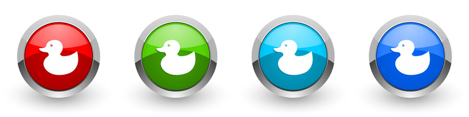 Duck toy, bird silver metallic glossy icons, red, set of modern design buttons for web, internet and mobile applications in four colors options isolated on white background