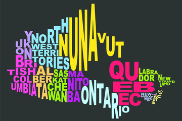 Canada provinces and territories map word cloud black