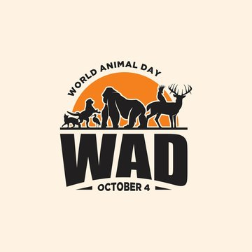 Vintage emblem World Animal Day with graphic animals and sunset
