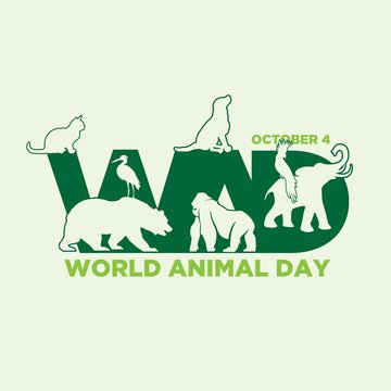 Letter WAD for World Animal Day with graphic animals on the negative space