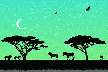 Wall Murals Green coral Landscape of African savannah. Animals in wild nature.