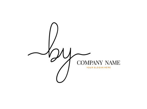 B Y BY Initial handwriting logo design with circle. Beautyful design handwritten logo for fashion, team, wedding, luxury logo.