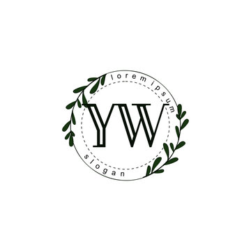 Initial letter YW beauty vector handwriting concept logo