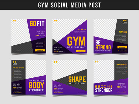 Gym square banner template. Promotional banner for social media post, web banner and flyer Vol.11
