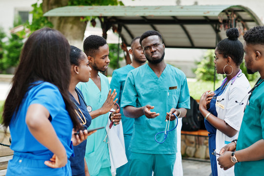 Group of african medical students posed outdoor.