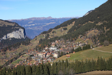 alpine village at the foot of Jungfrau, Switzerland