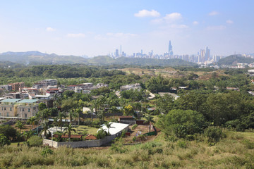 Ta Kwu Ling village in Hong Kong facing Shenzhen