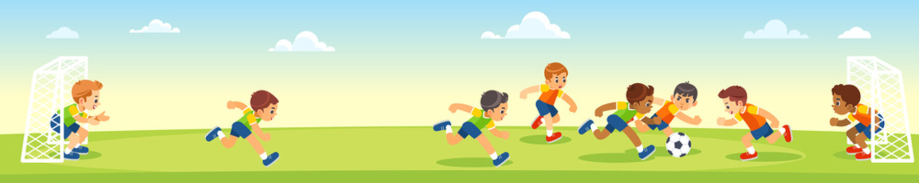 Boys kicking football on the sports field. Vector cartoon flat illumination