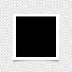 Realistic empty photo frame on transparent background. Vector illustration for your design