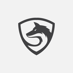 wolf icon vector, wolf shield logo icon vector, wolf secure icon, wolf head