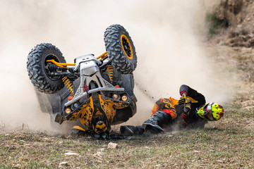 Crash during fast ride on a quadbike. Fototapete