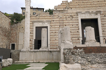 Ancient Roman temple of Capitolium in Brescia, UNESCO world heritage, Italy