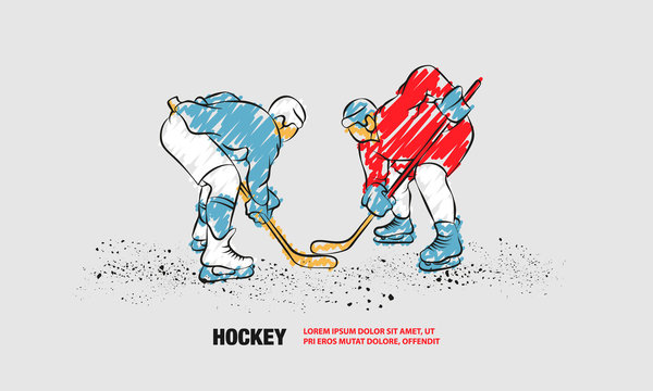 Hockey players are preparing to face-off. Vector outline of hockey player with scribble doodles.