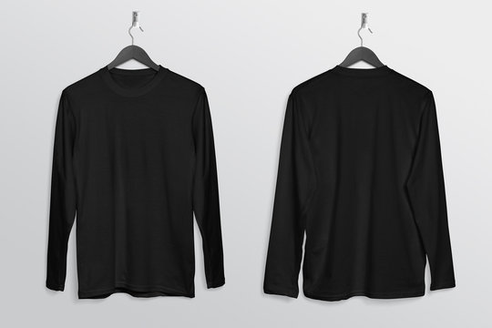 Front back of black plain long sleeve crew neck shirt hanging on wall