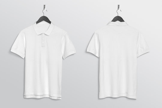 Front back of white plain polo t shirt hanging on wall