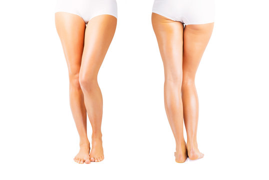Woman with smooth and soft skin on legs