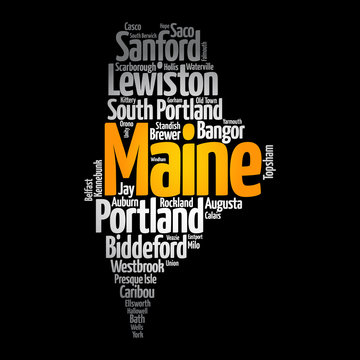 List of cities and towns in Maine USA state, map silhouette word cloud map concept