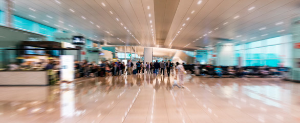 airport inside with motion blur, motion effect- image