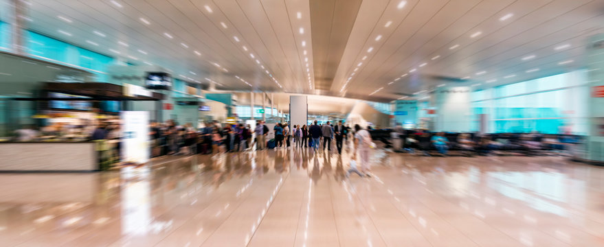 Airport inside with motion blur, motion effect