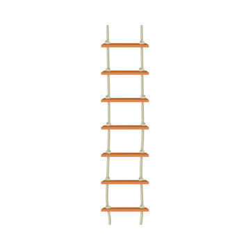 Rope Ladder Hanging From Above With Wooden Step Vector Illustration