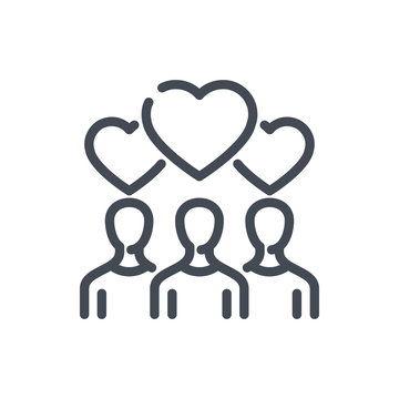 Rating from subscribers line icon. People with hearts over their heads vector outline sign.