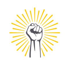 Fototapeta Fist male hand, proletarian protest symbol. Power sign. obraz