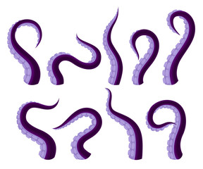 Set Of Vector Illistrations Of Octopus Or Squid Tentacles