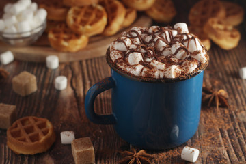 Poster Chocolate A mug with hot chocolate with marshmallow