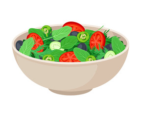 Vector Isometric Illustration Of Fresh Vegetable Salad Isolated On White Background, cooking vegetarian food