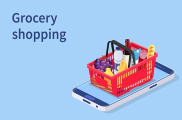Poster Grocery shopping online isometric concept. Can use for web banner, infographics. Vector illustration in flat style