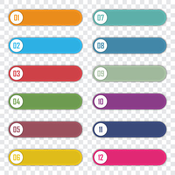 Set of number bullet point 1 to 12. Infographic elements template. Vector illustration