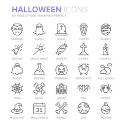 Collection of halloween related line icons. 48x48 Pixel Perfect. Editable stroke